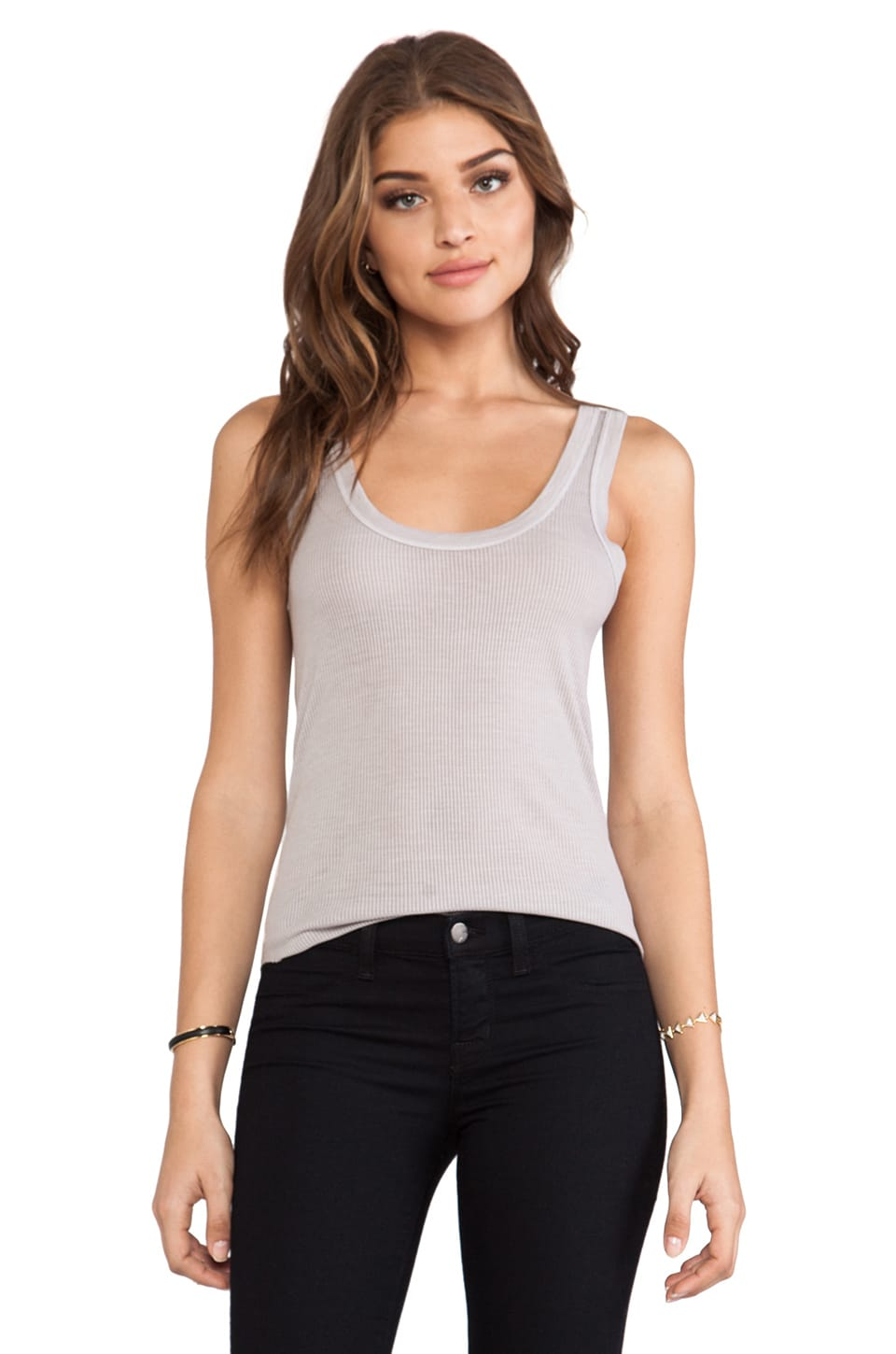 Enza Costa Rib baseball Tank in Light Heather Grey
