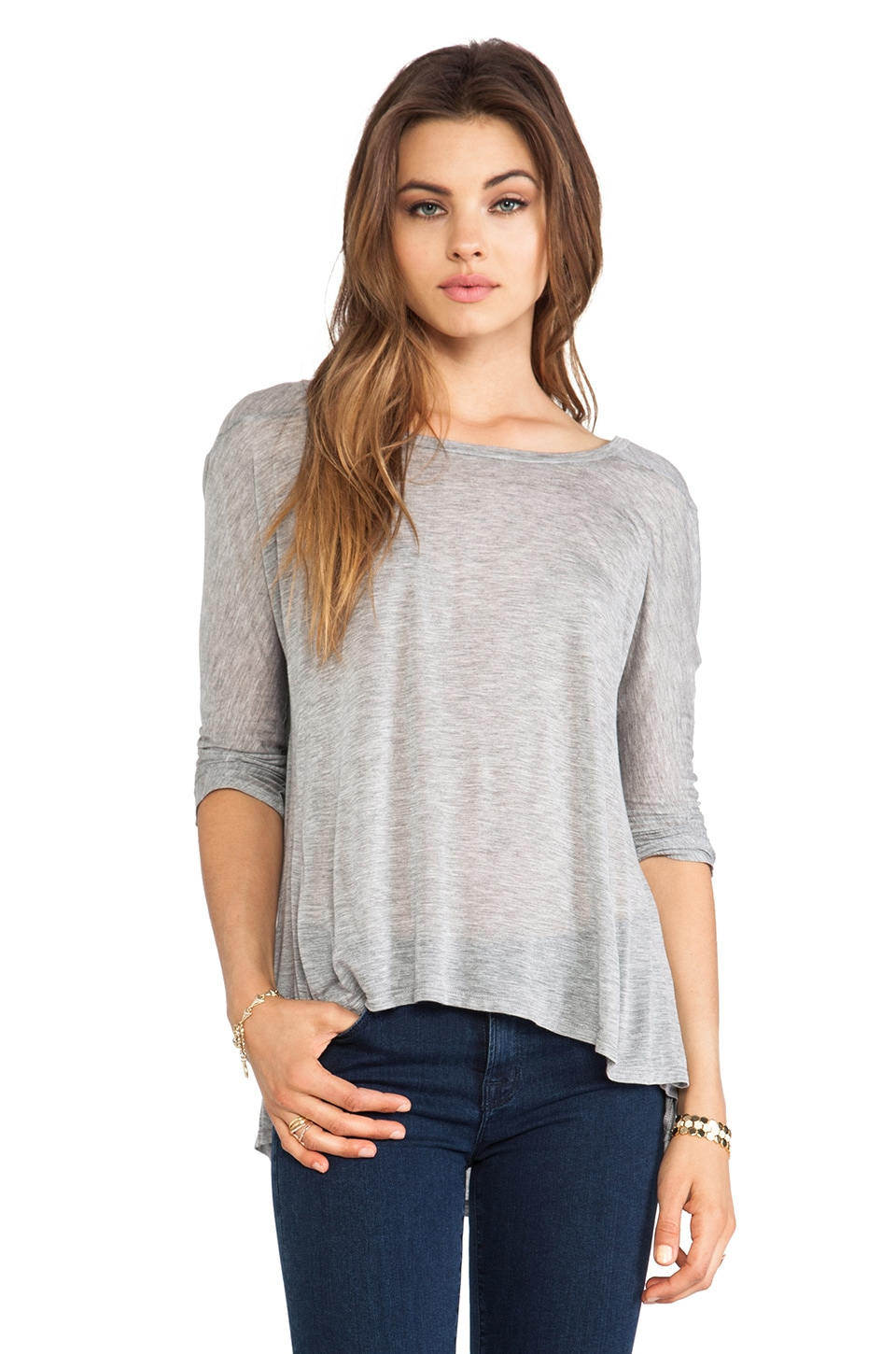 Enza Costa Half Sleeve Drape Top in Heather Grey