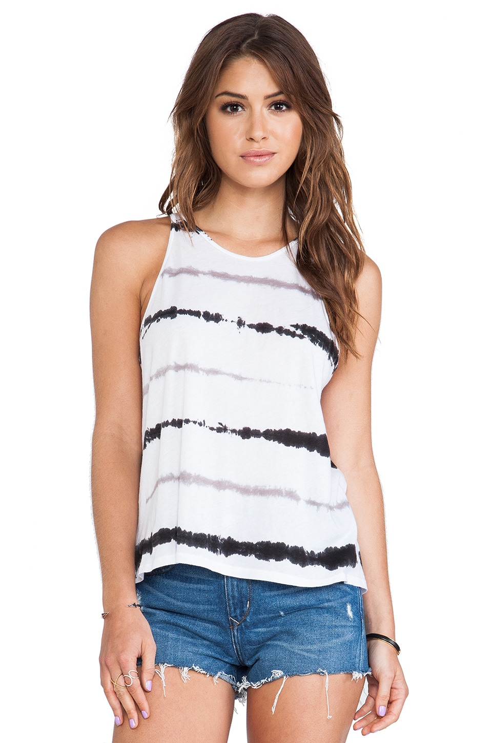 Enza Costa Tissue Jersey Crop Tank in Sehera Stripe