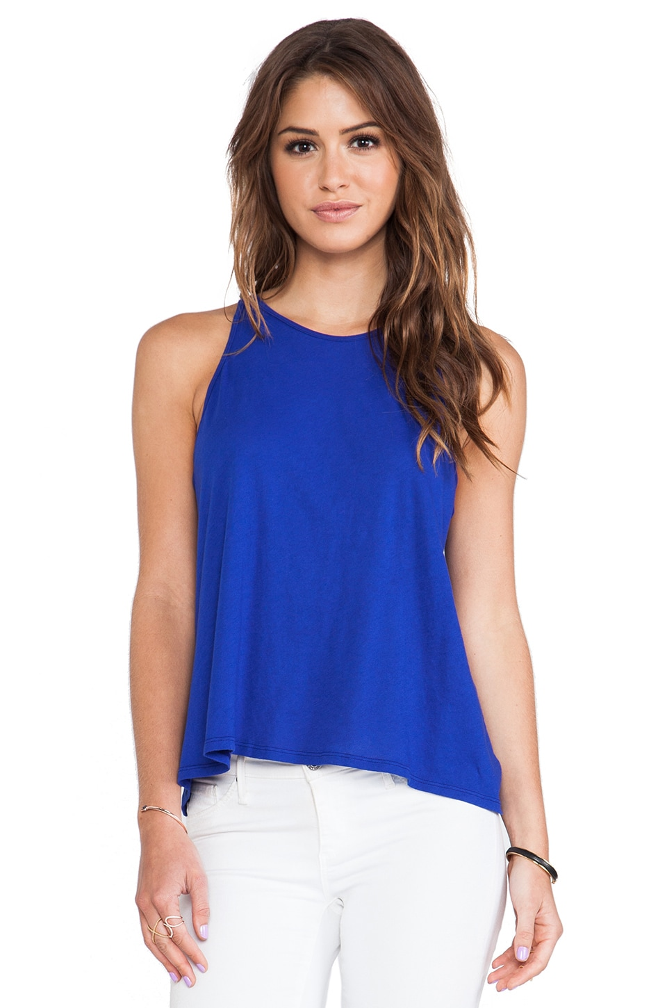 Enza Costa Tissue Jersey Crop Tank in Baltic