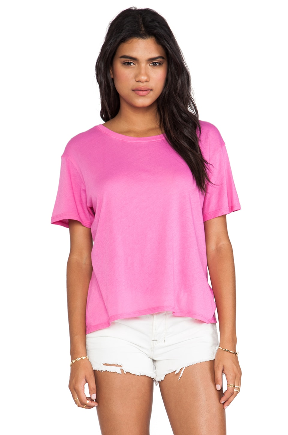 Enza Costa Tissue Jersey Boy Tee in Shocking Pink