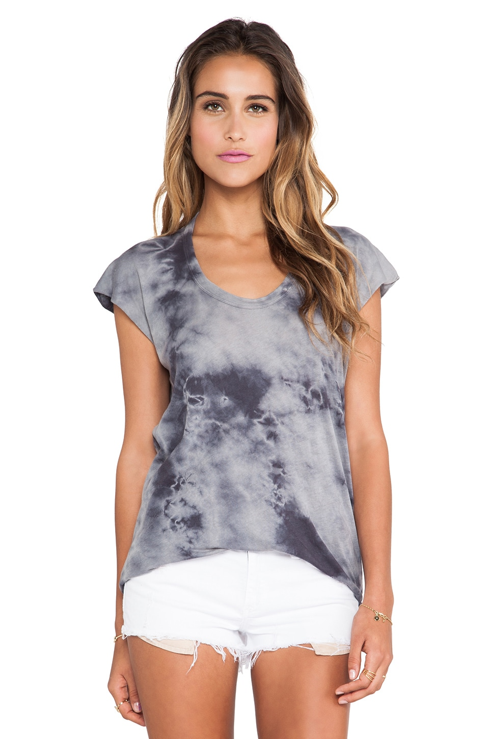 Enza Costa Ionic Wash Sleeveless Scoop Tank in Steel Grey & Phantom