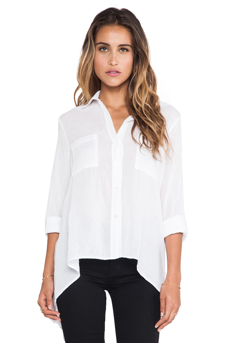 Enza Costa Peasant Hi Lo Shirt in White