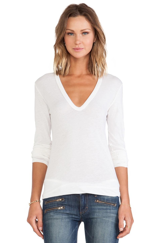 Enza Costa Tissue Jersey Bold Long Sleeve U Neck in Marshmallow