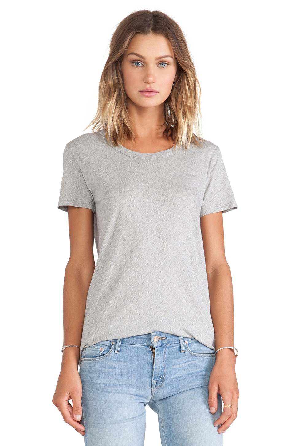 Enza Costa Tissue Jersey Loose Short Sleeve Crew in Light Heather Grey