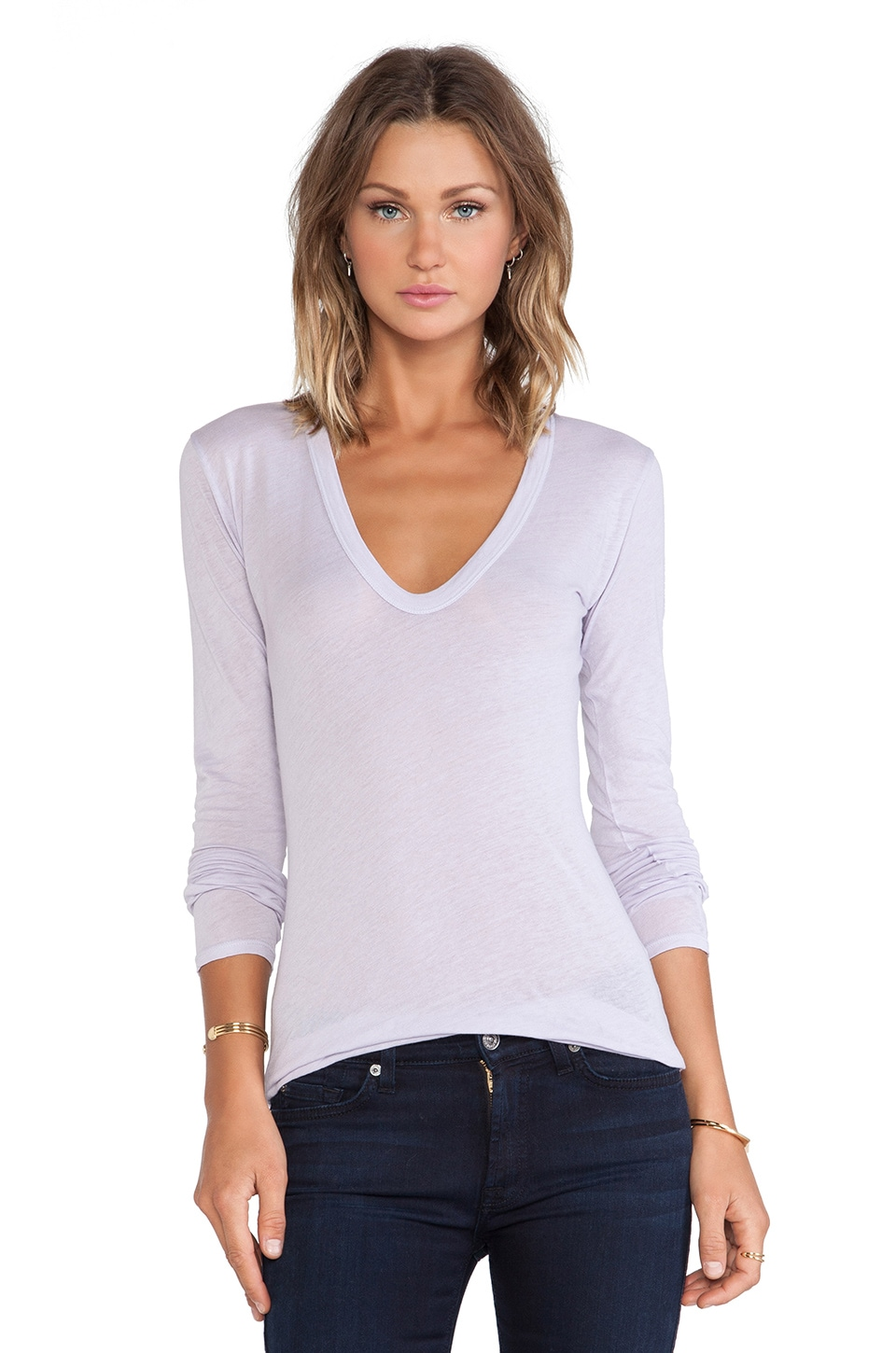 Enza Costa Tissue Jersey Bold Long Sleeve U Neck in Iris