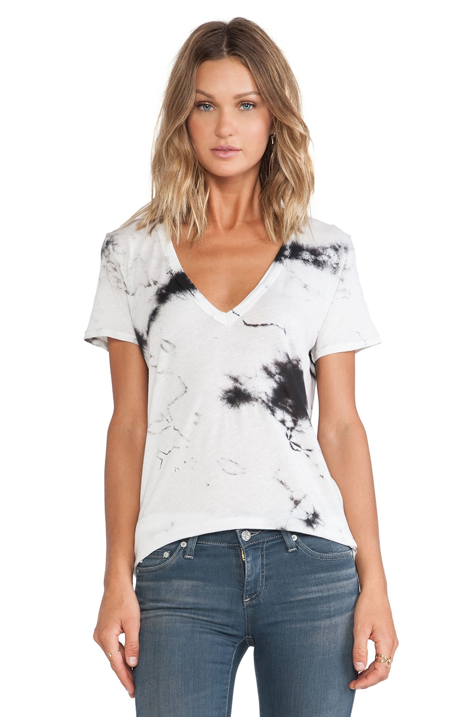 Enza Costa Loose Short Sleeve V Tee in Black Ionic & Cement