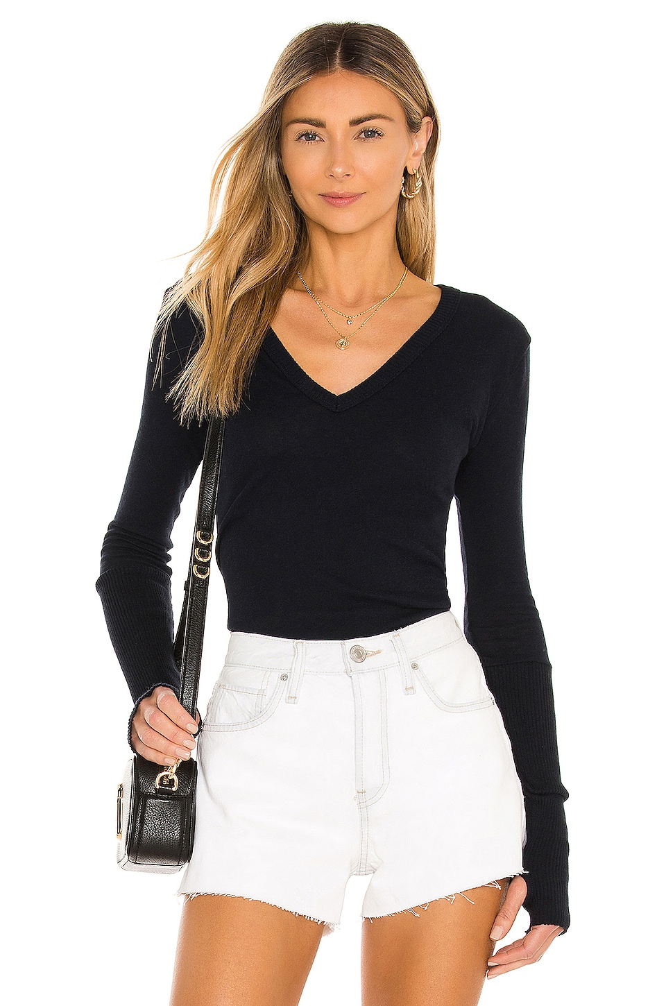 Enza Costa Cashmere Cuffed V Neck Long Sleeve Tee in Cadet