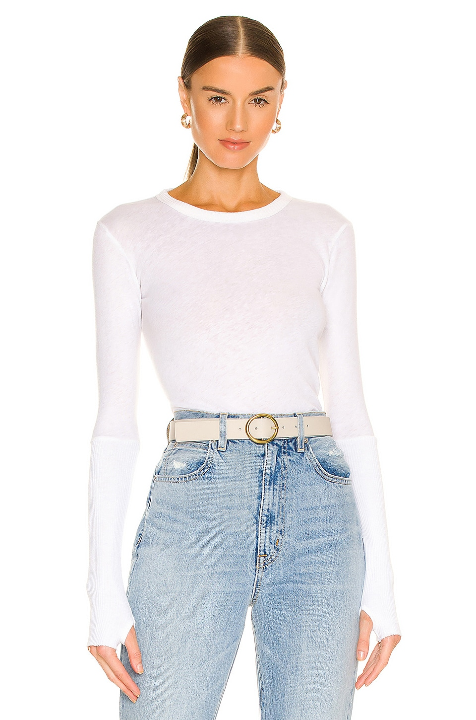 Enza Costa Cashmere Cuffed Crew Neck Top in White