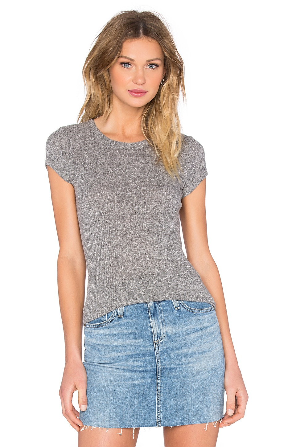 Rib Fitted Cap Sleeve Top