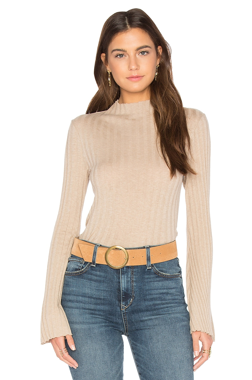 Cashmere Rib Mock Neck Tee by Enza Costa