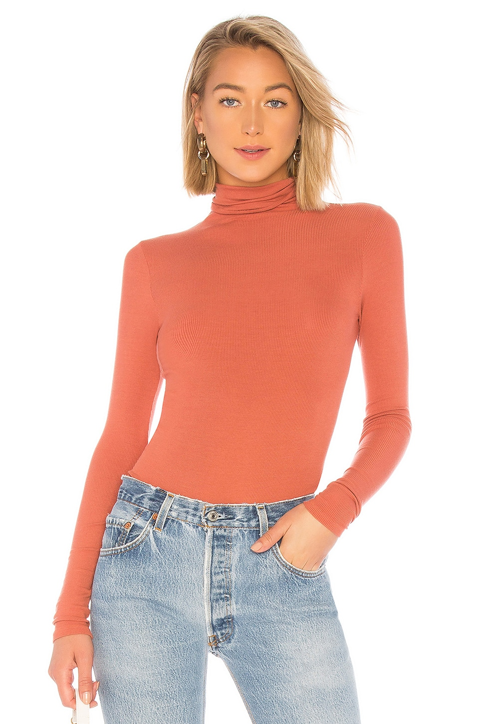 Rib Fitted Turtleneck Top