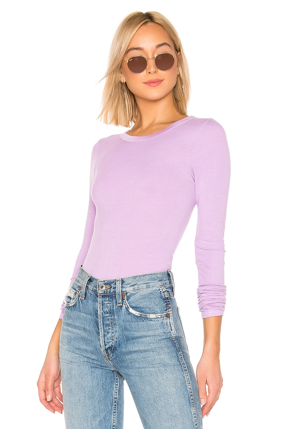 Enza Costa Rib Fitted Crew Neck Top in Aster
