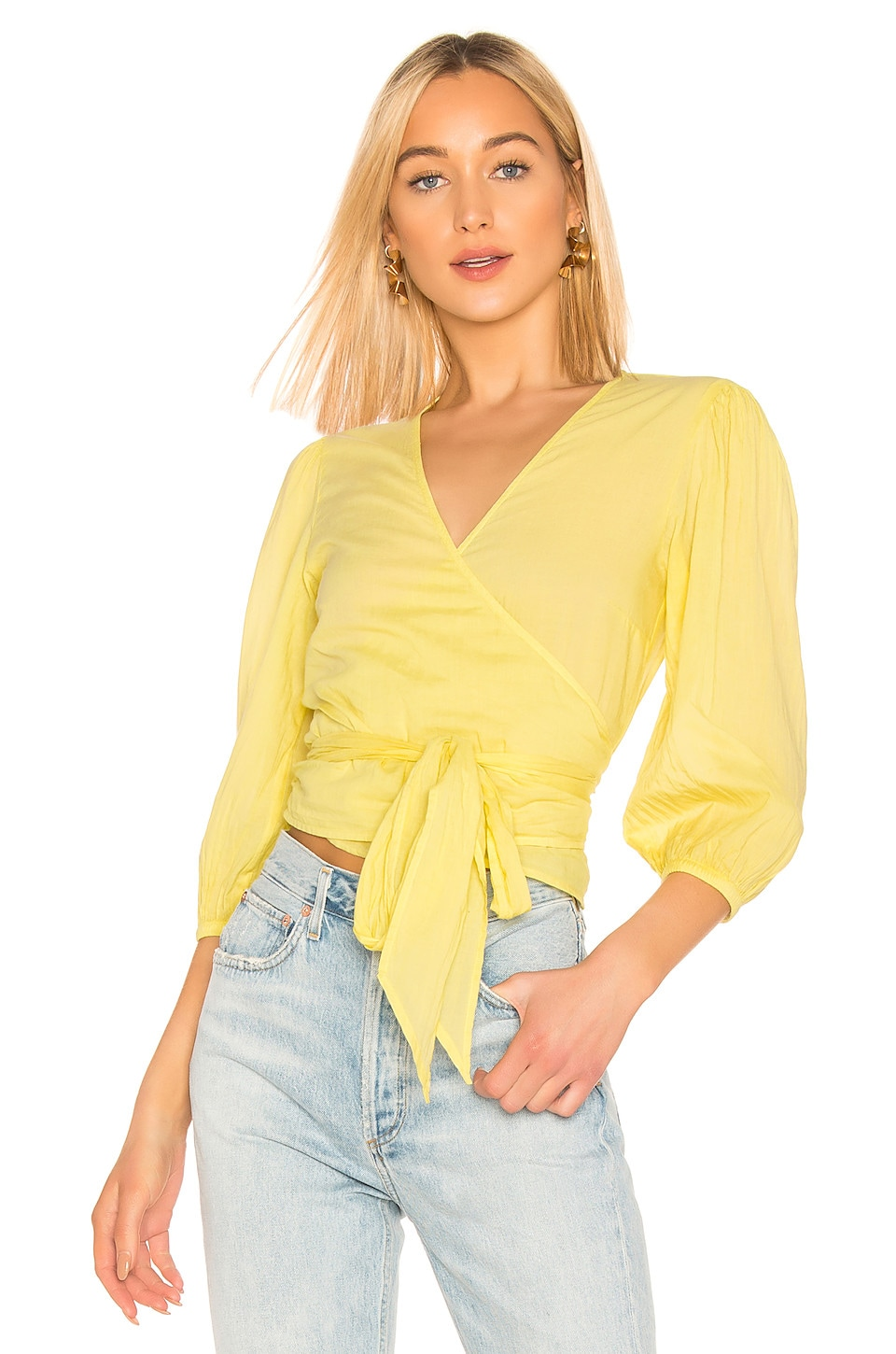 Enza Costa Cottons PUFF SLEEVE WRAP TOP
