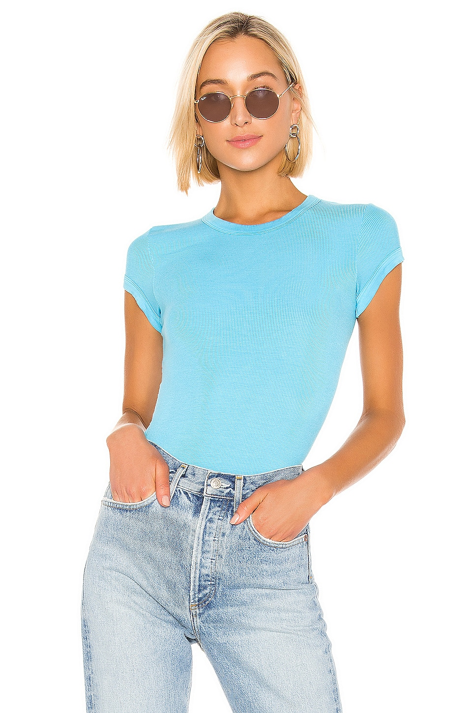 Enza Costa Rib Cap Sleeve Top in Turquoise