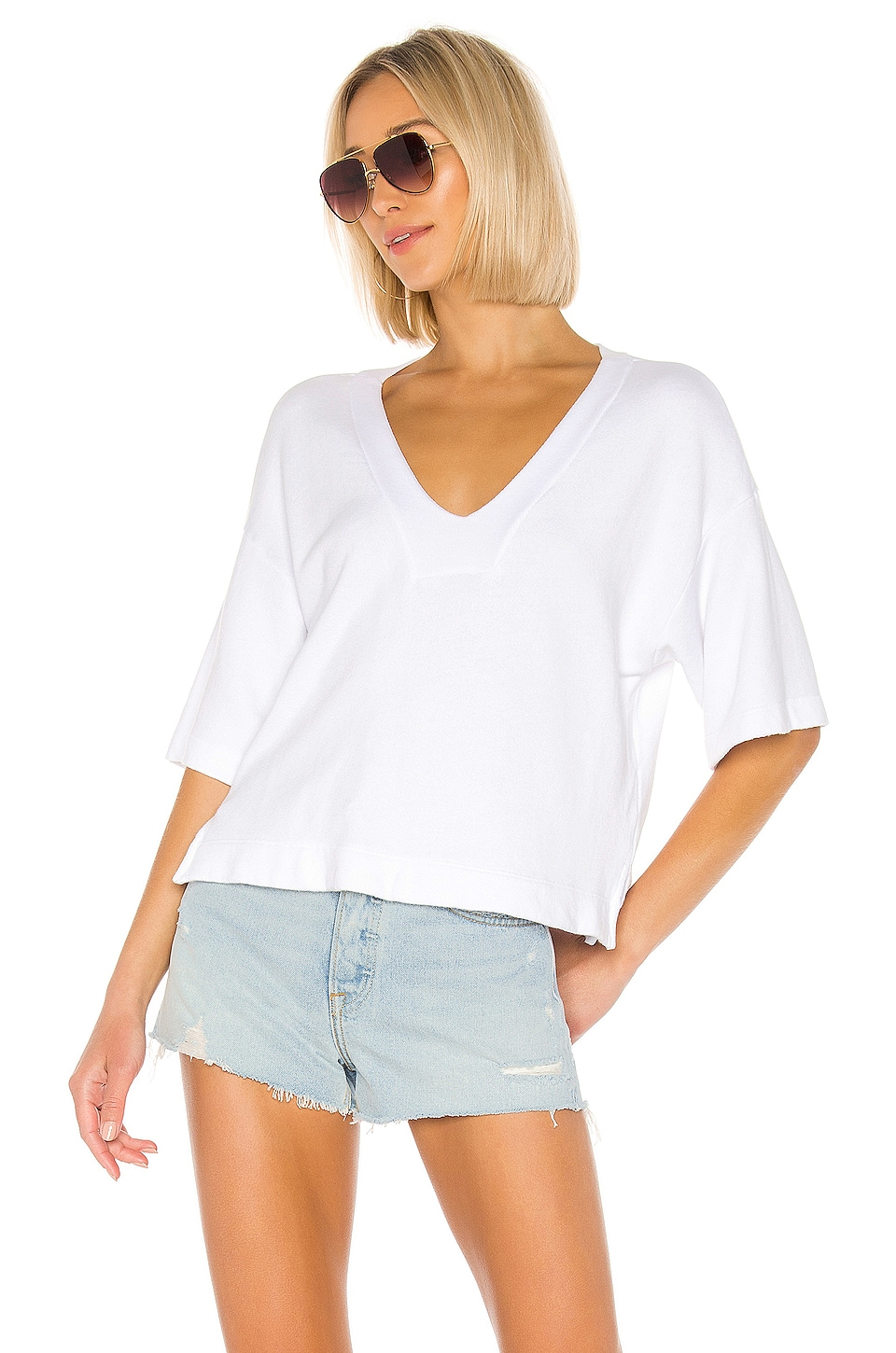 Enza Costa French Terry Easy V Neck Top en White