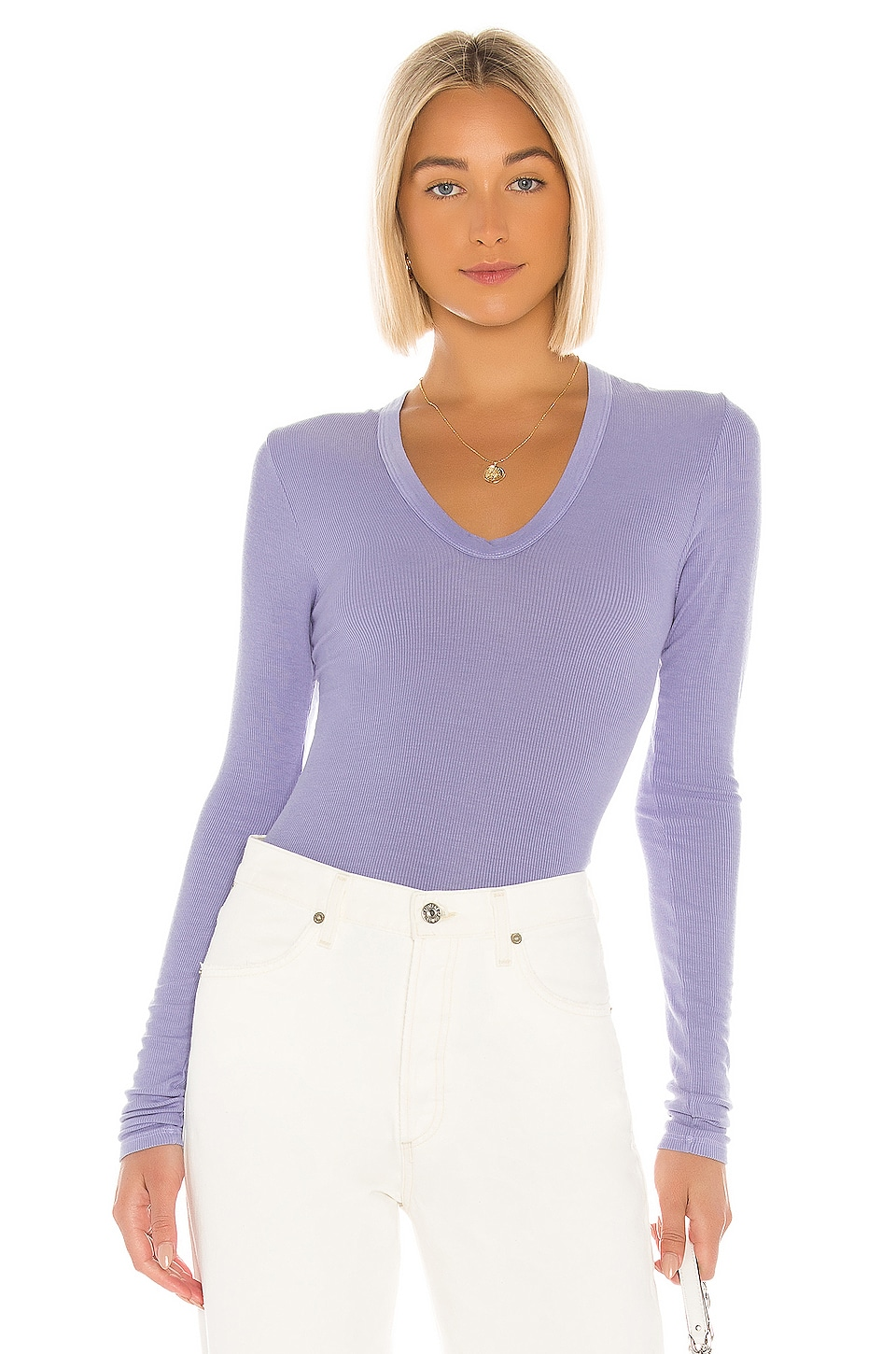 Enza Costa Rib Fitted Long Sleeve Tee in Mid Blue
