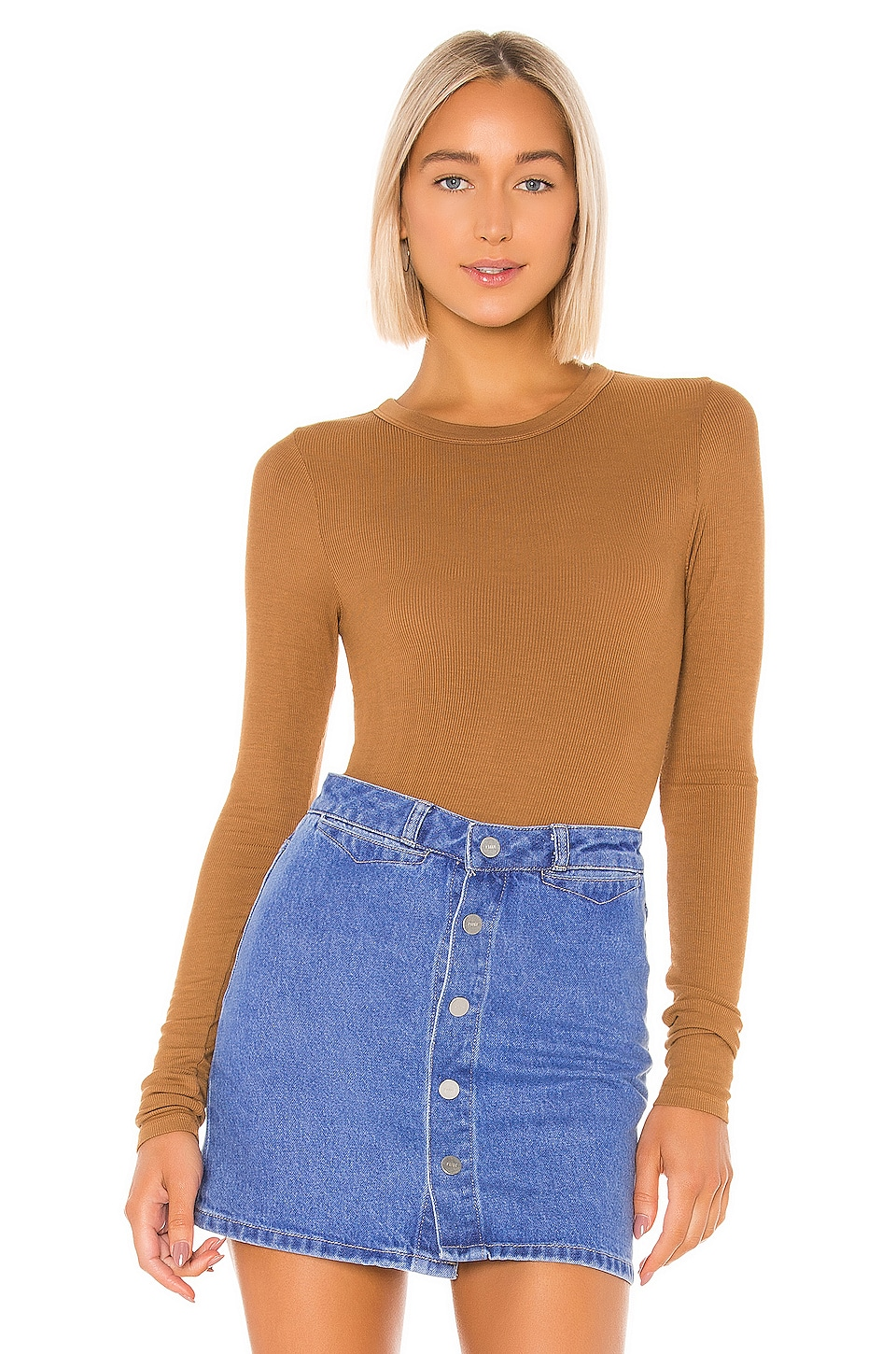 Enza Costa Rib Fitted Long Sleeve V Neck in Danish Brown