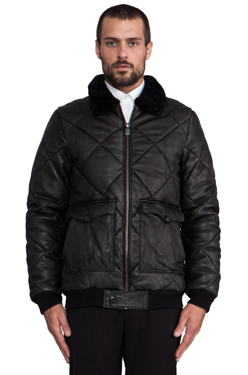 Eleven Paris Vladim Quilted Bomber in Black Stone