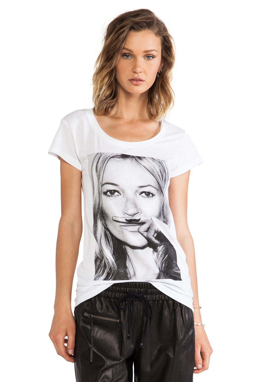 Eleven Paris Kate Moss Mustache Tee in White