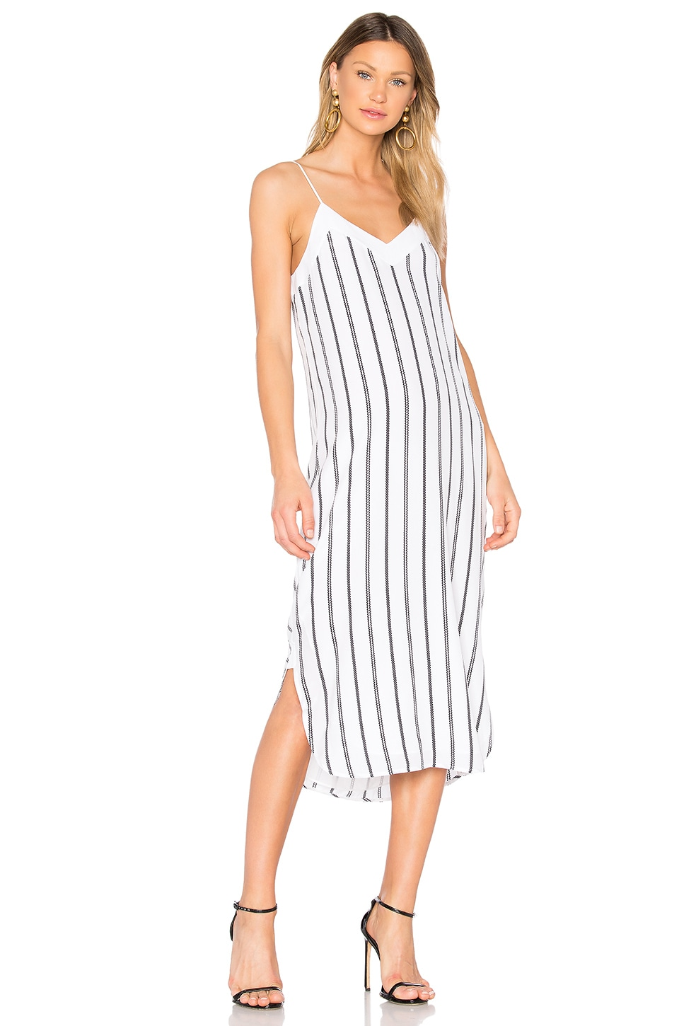 Equipment Dian Striped Dress in Bright White & Eclipse