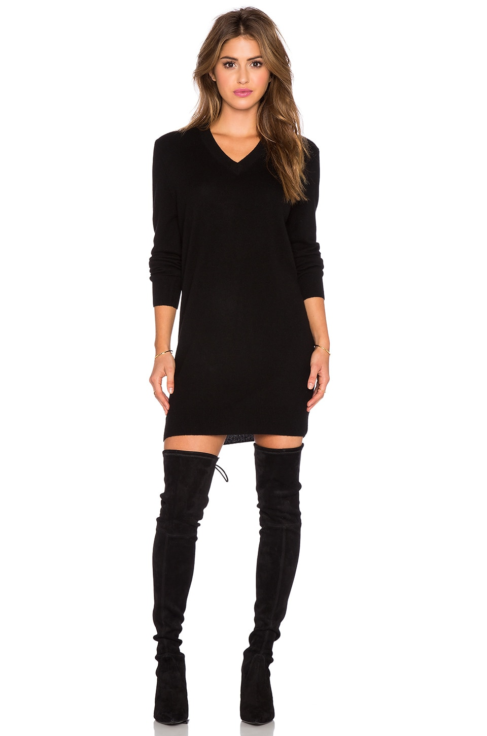 Equipment Eunice Cashmere Sweater Dress in Black