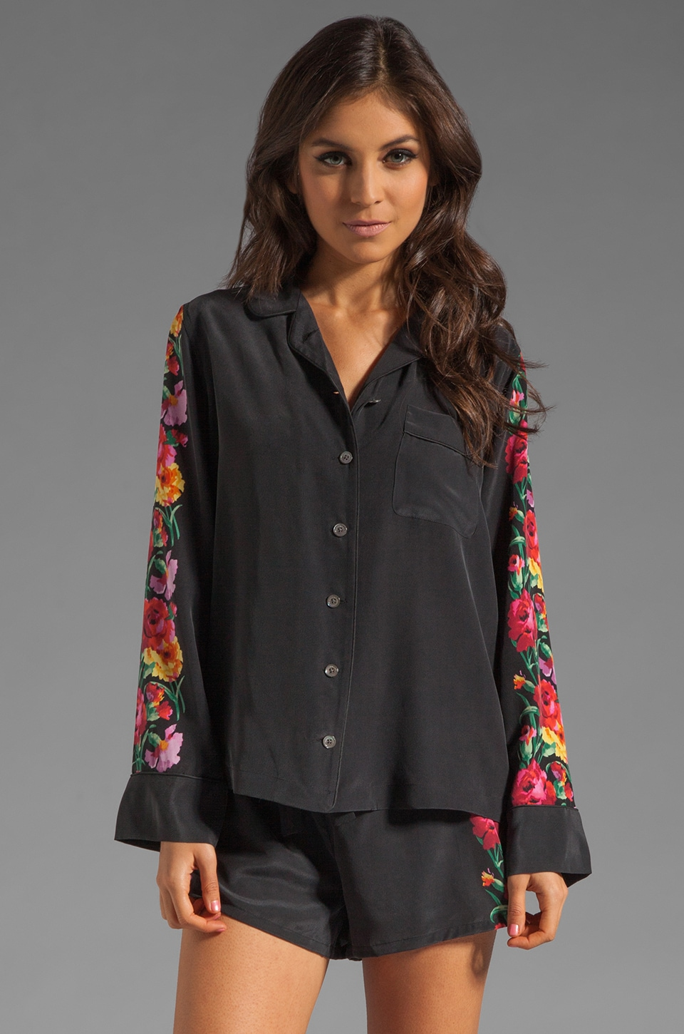 Equipment Dakota Gypsy Floral Printed Pajama Set in Black
