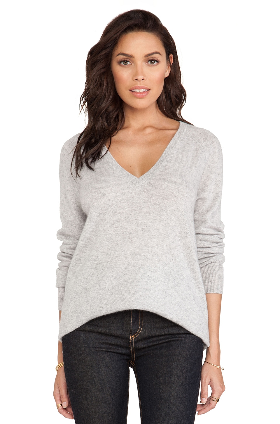 Equipment Asher V Neck Sweater in Light Heather Grey