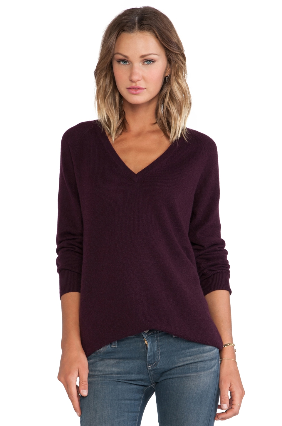 Equipment Asher V Neck Sweater in Cabernet