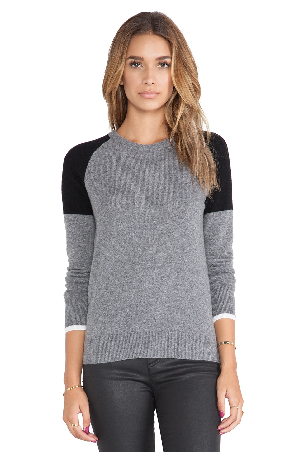 Equipment Sloane Colorblock Crewneck Sweater in Heather Grey & Black Multi