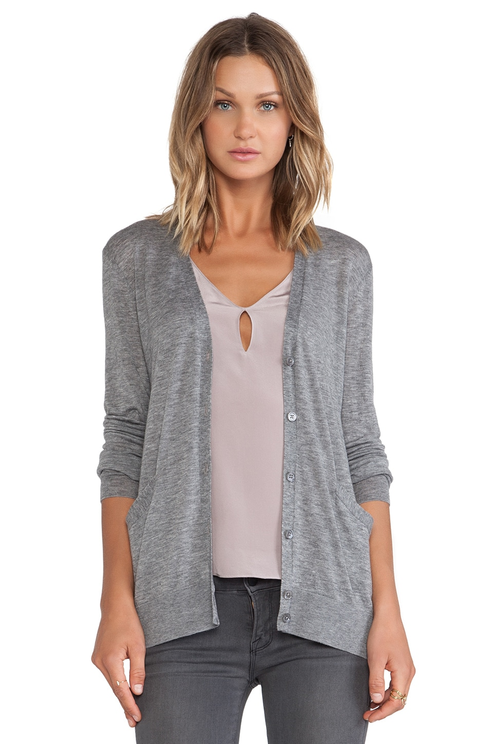 Equipment Sullivan Classic Cardigan in Heather Grey