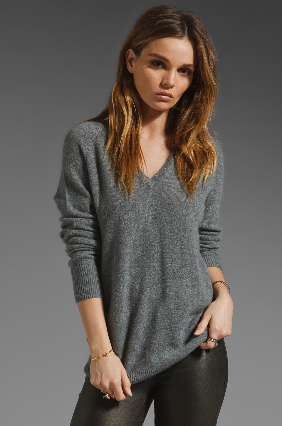Equipment V Neck Sweater in Heather Grey