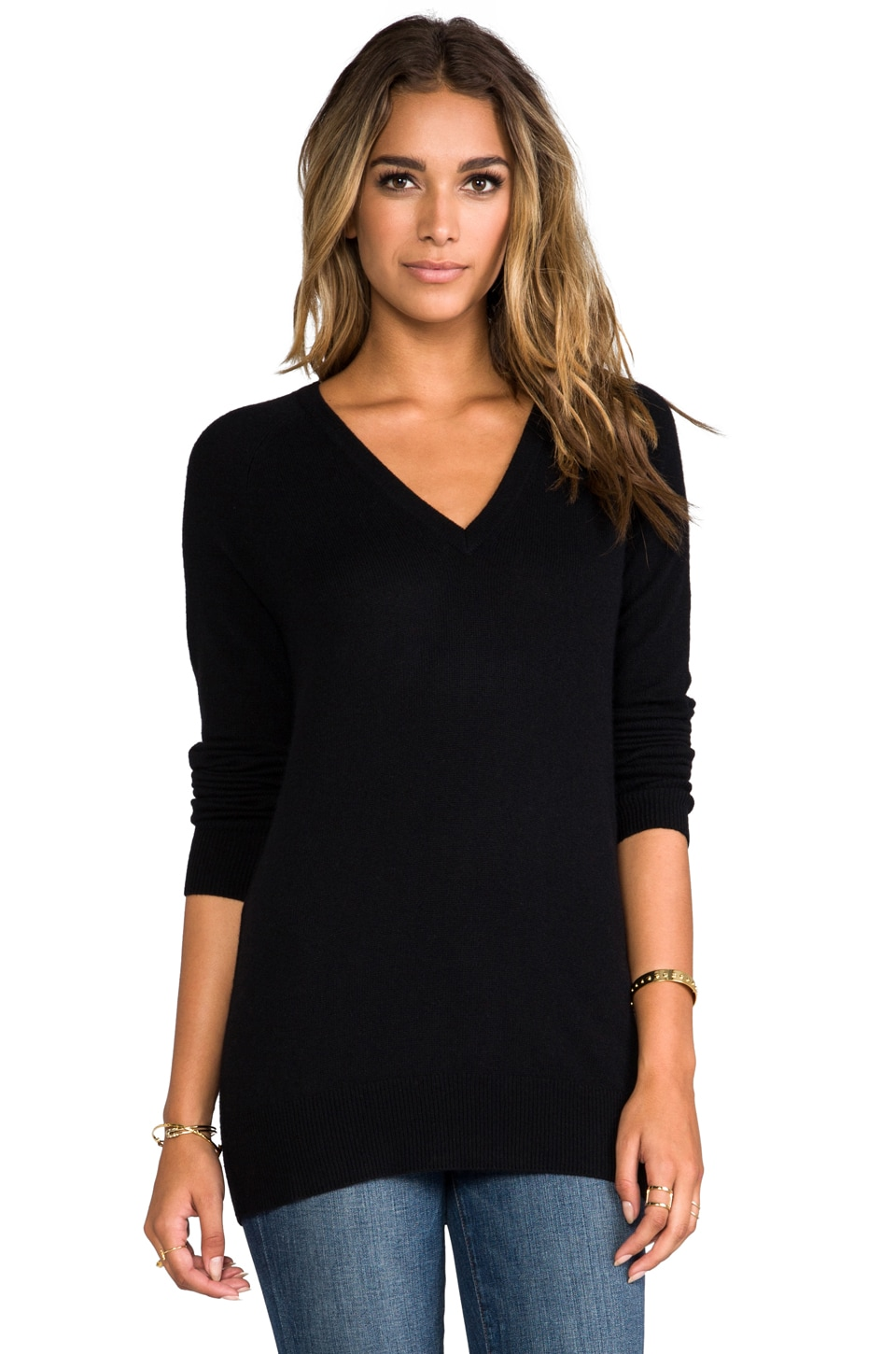 Equipment V Neck Sweater in Black