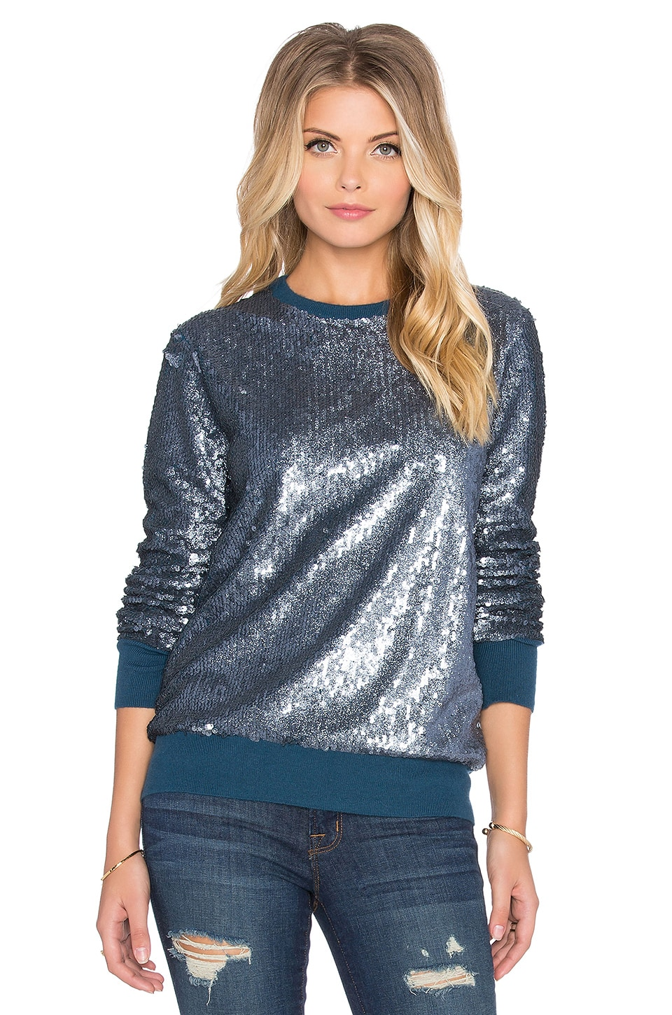 Equipment Shane All-Over Sequins Sweater in Majolica Blue