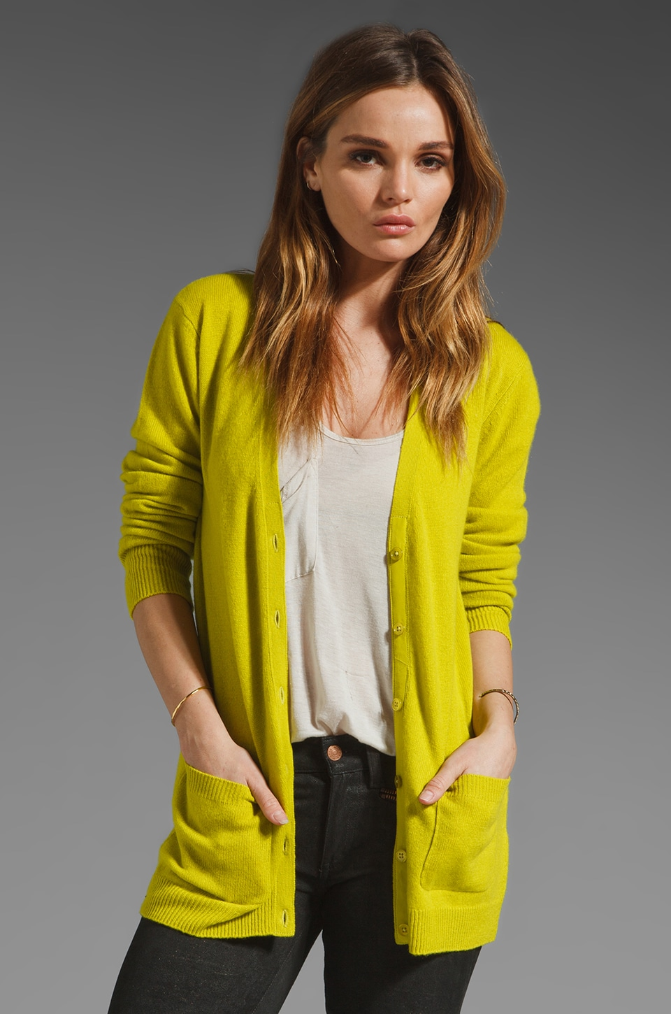 Equipment Ella Cardigan in Citronelle