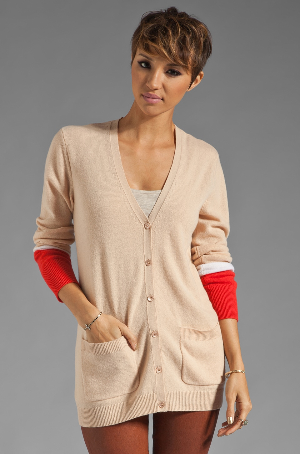 Equipment Ella Colorblock Cardigan in New Nude
