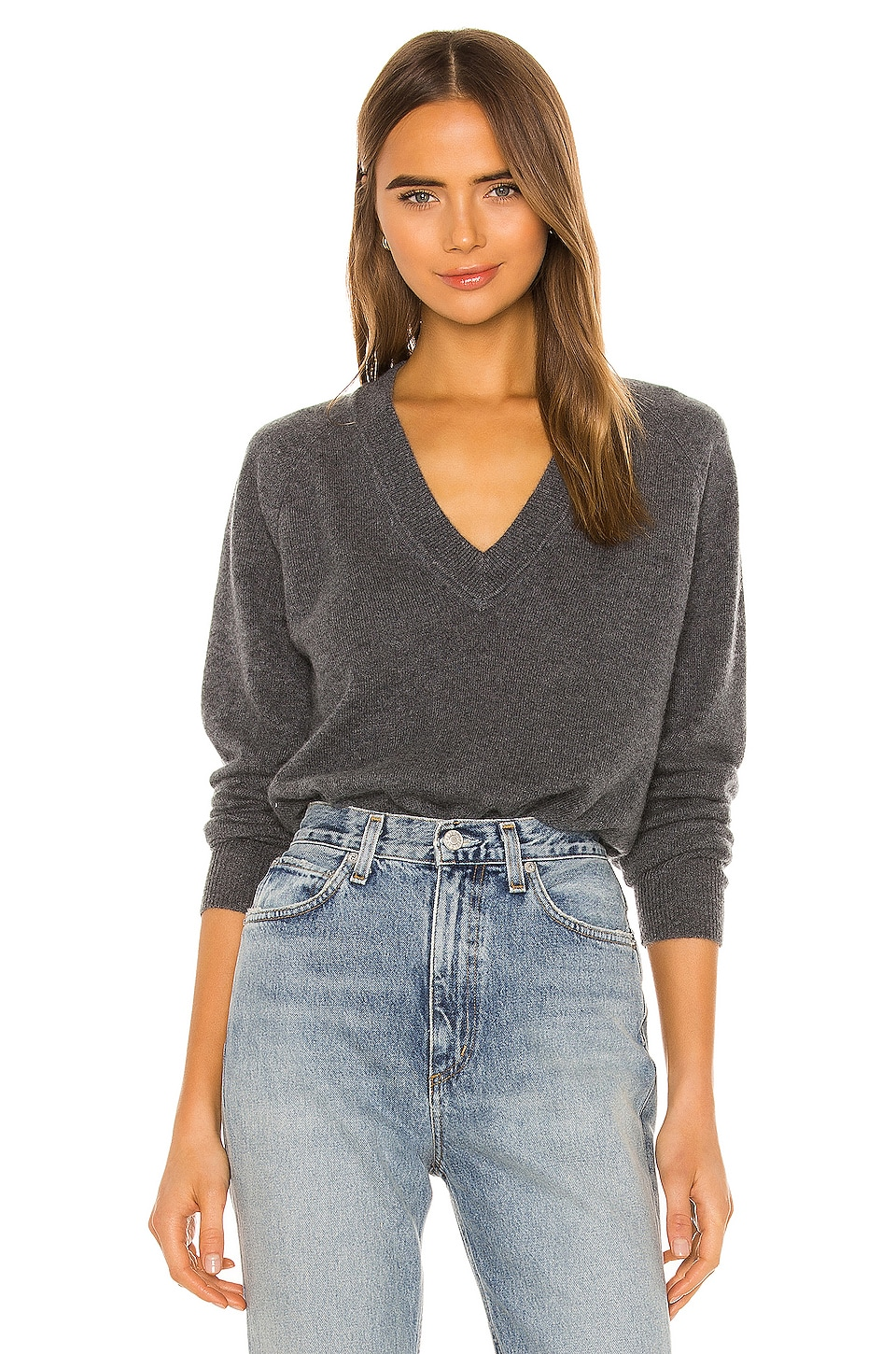 Equipment Madalene V Neck Sweater in Heather Grey