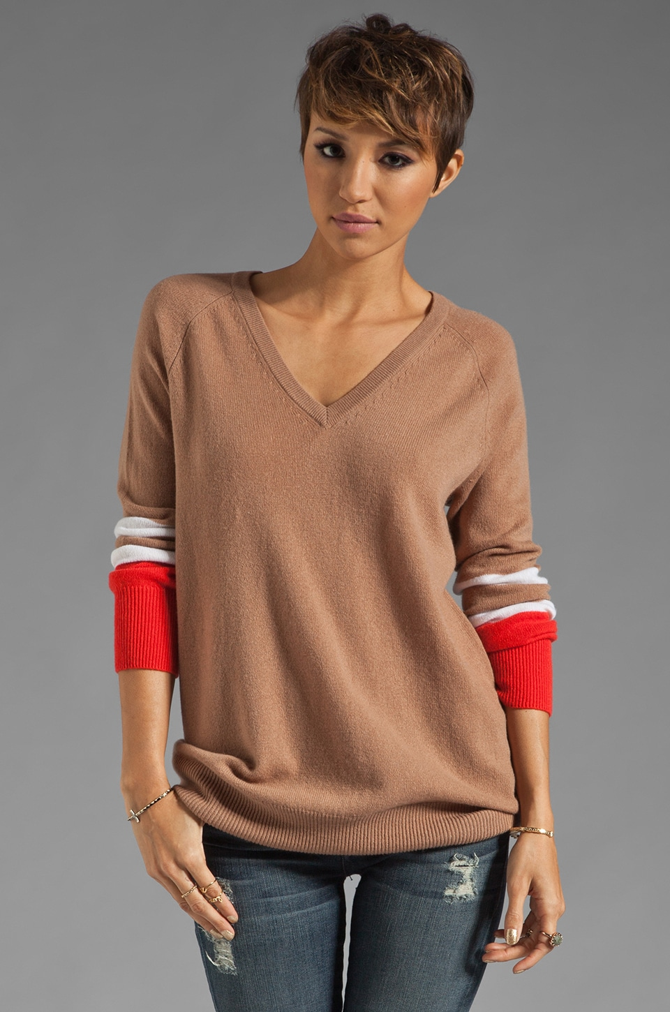 Equipment Asher V Neck Colorblock Sweater in Camel