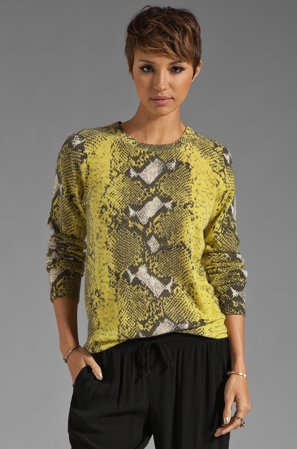 Equipment Sloane Diamondback Python Crew Neck Sweater in Blazing Yellow