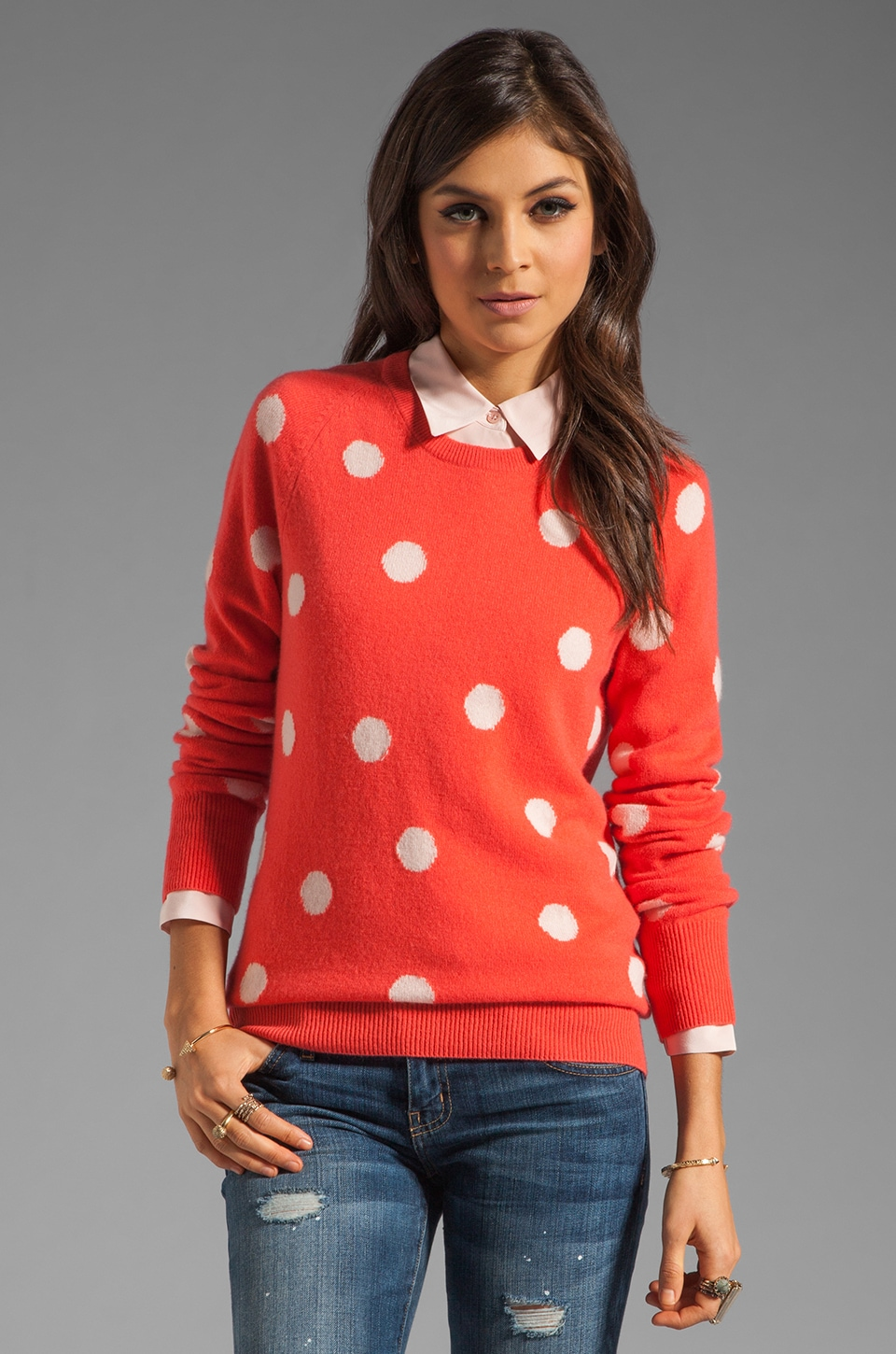 Equipment Sloane Classic Dots Crew Neck Sweater in Cayenne