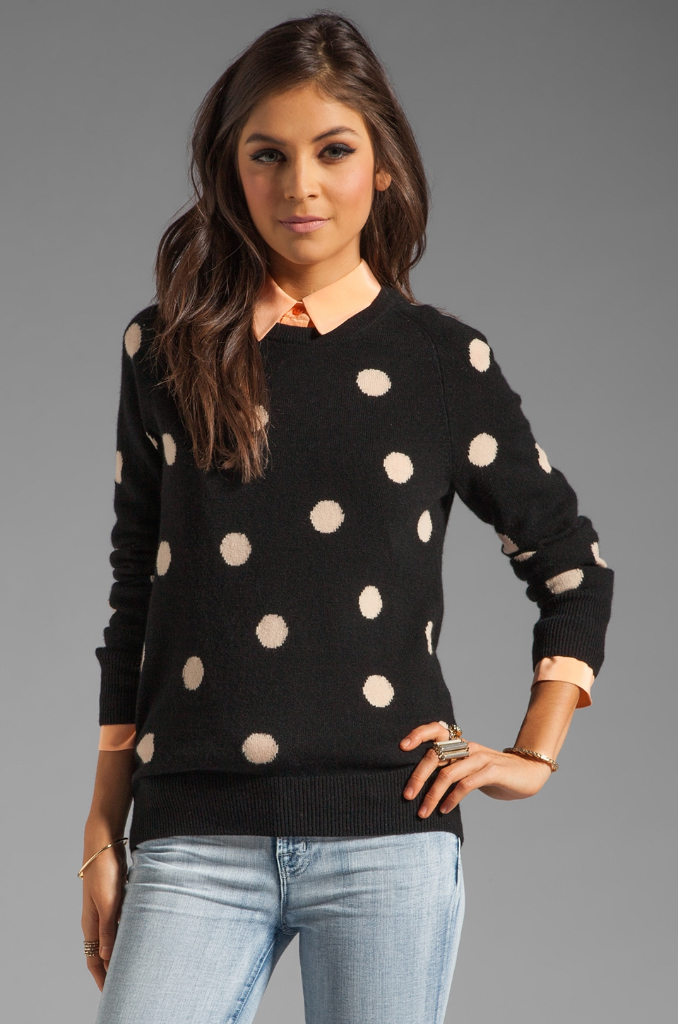 Equipment Sloane Classic Dots Crew Neck Sweater in Black