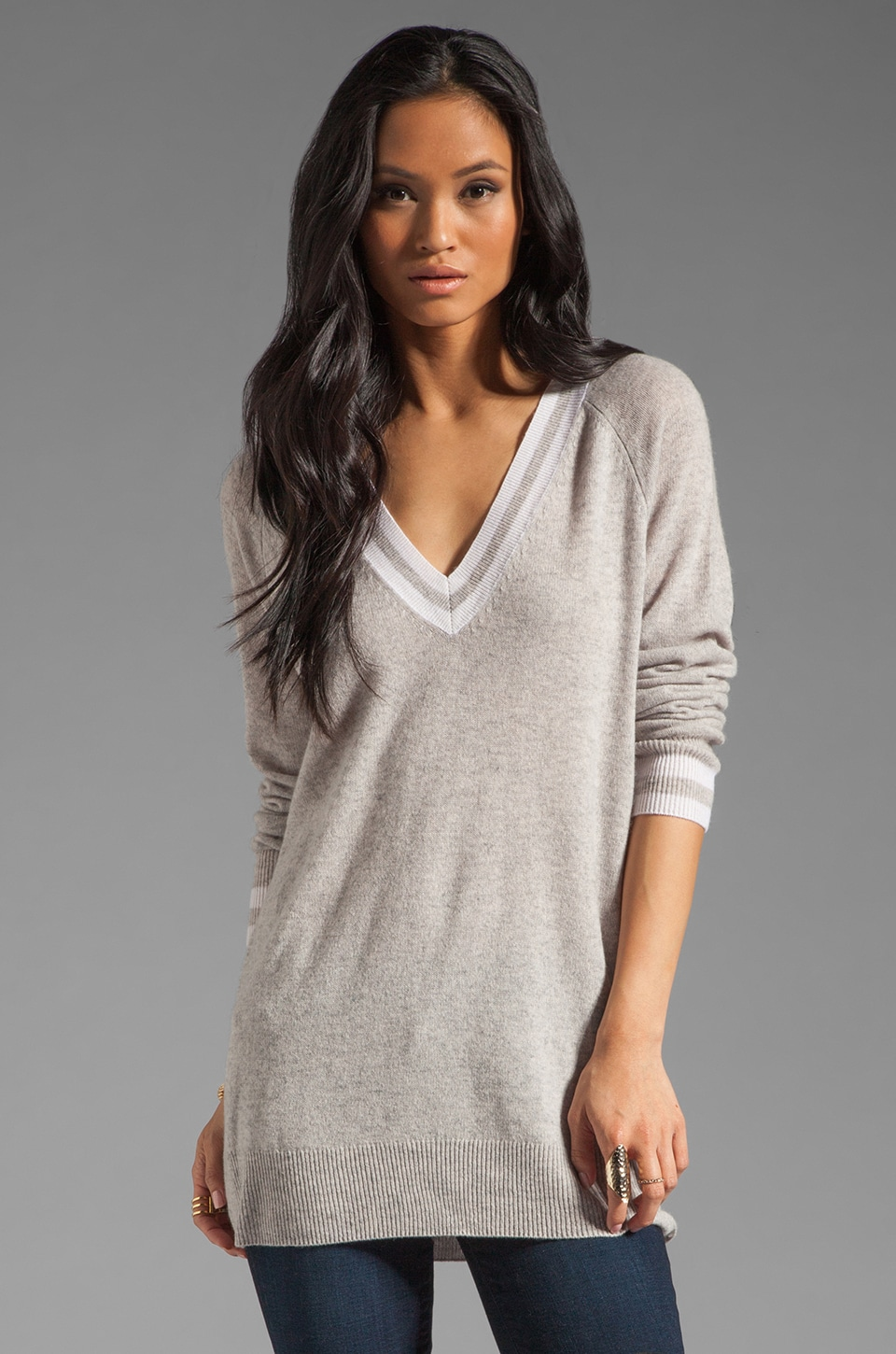 Equipment Asher V Neck Colorblock Sweater in Heather Grey