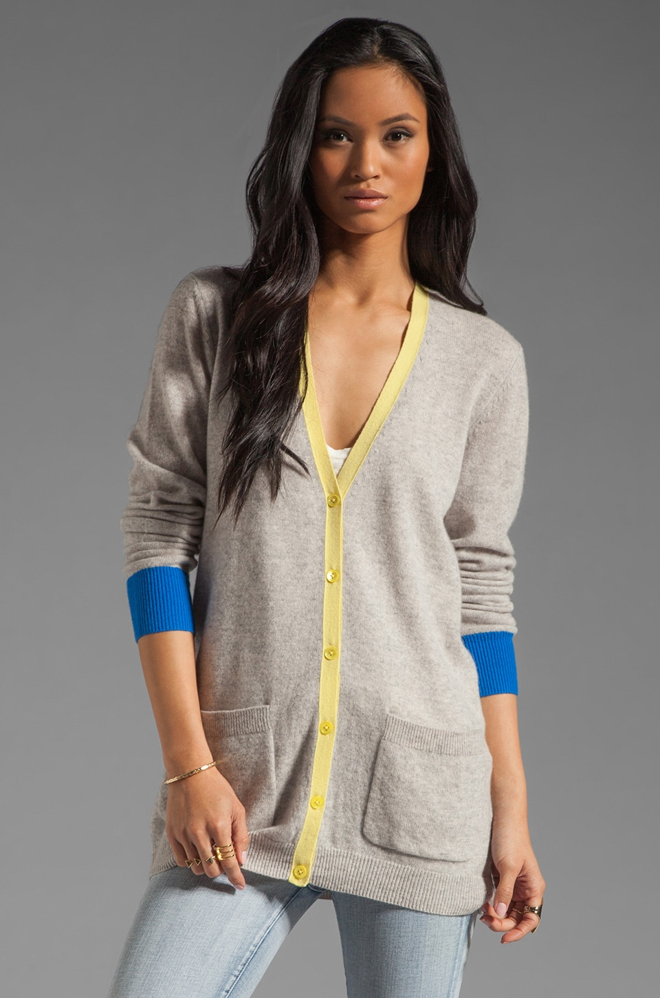 Equipment Ella Colorblock Cardigan in Light Heather Grey
