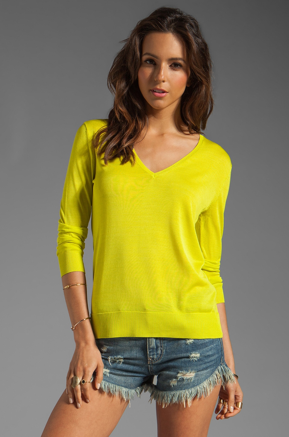 Equipment Sandy V-Neck Sweater in Neon Canary
