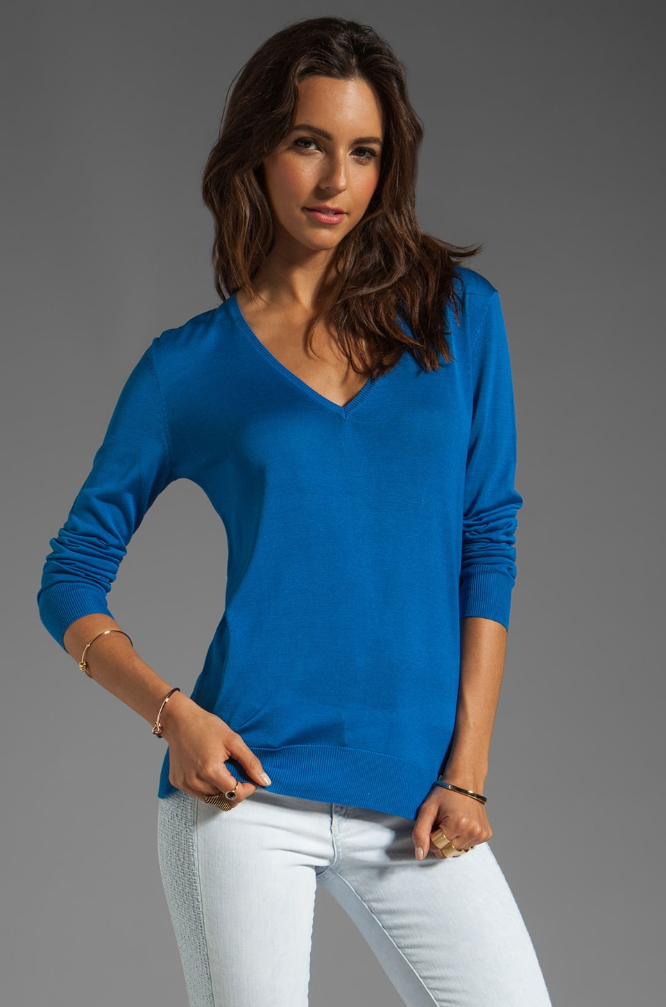 Equipment Sandy V-Neck Sweater in Electric Blue