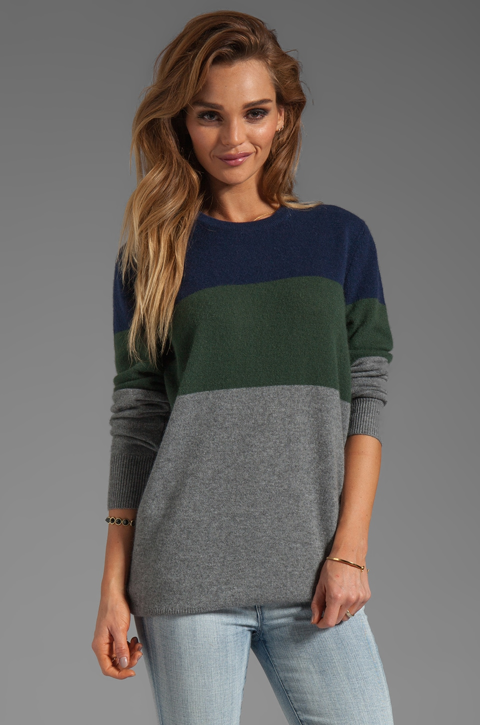 Equipment Rei Crew Neck Sweater in Heather Grey Multi