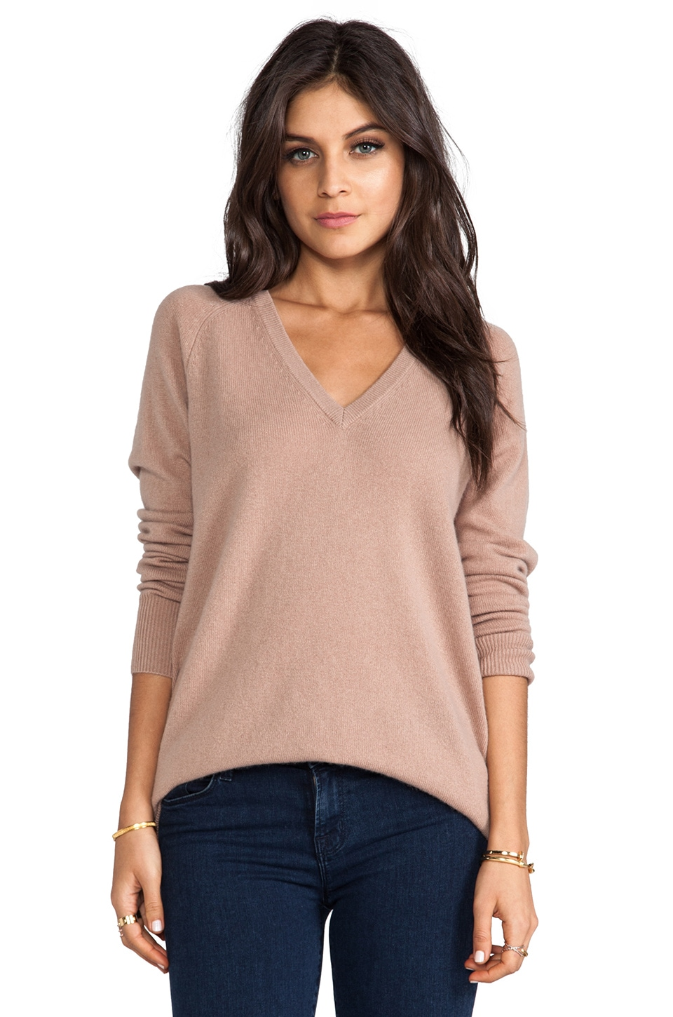 Equipment Asher V Neck Sweater in Camel