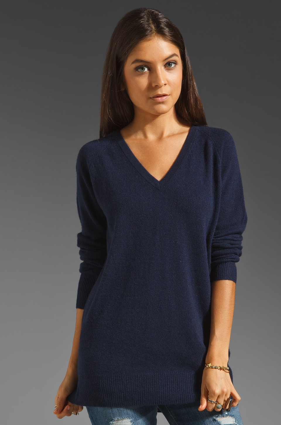 Equipment V Neck Sweater in Peacoat