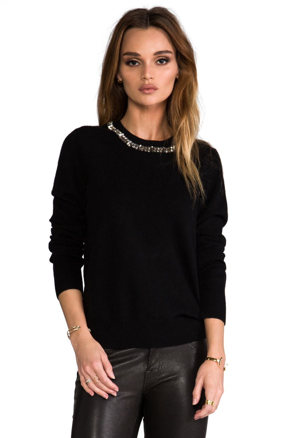 Equipment Shane Pullover w/ Embellished Neck in Black