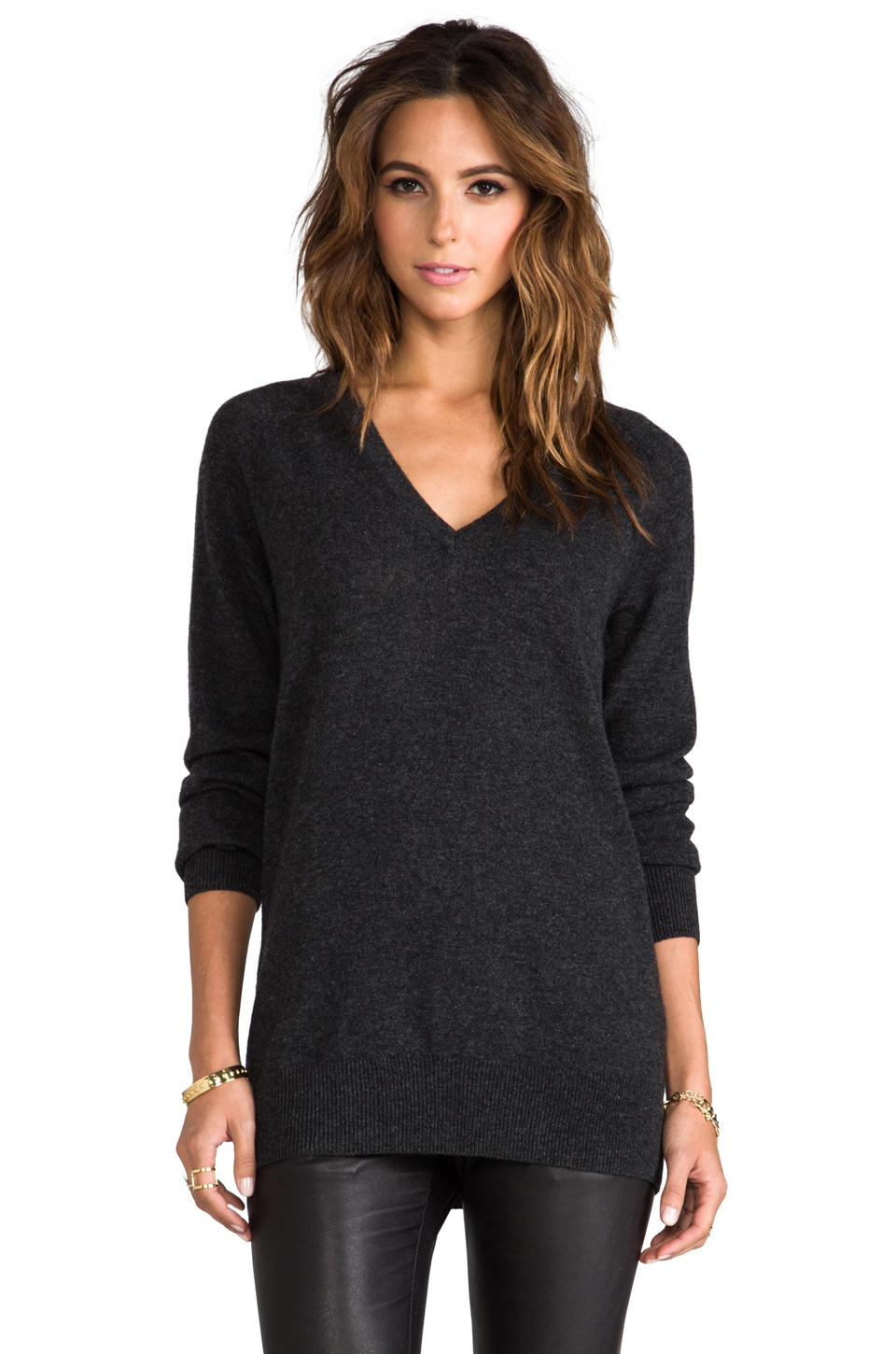 Equipment Asher V-Neck Sweater in Charcoal